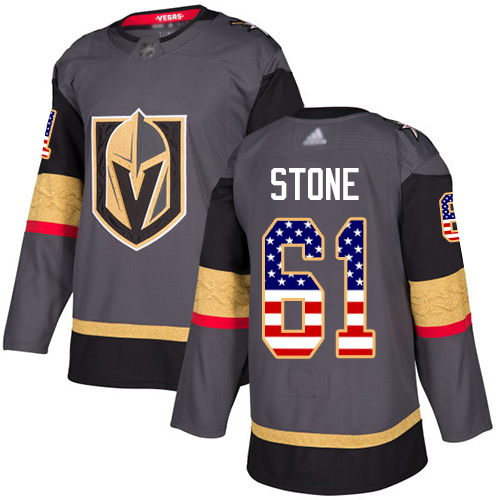 Adidas Golden Knights #61 Mark Stone Grey Home Authentic USA Flag Stitched Youth NHL Jersey