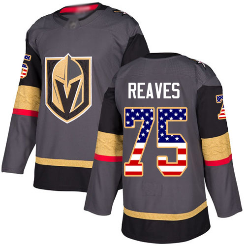 Adidas Golden Knights #75 Ryan Reaves Grey Home Authentic USA Flag Stitched Youth NHL Jersey