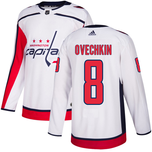 Adidas Capitals #8 Alex Ovechkin White Road Authentic Stitched Youth NHL Jersey