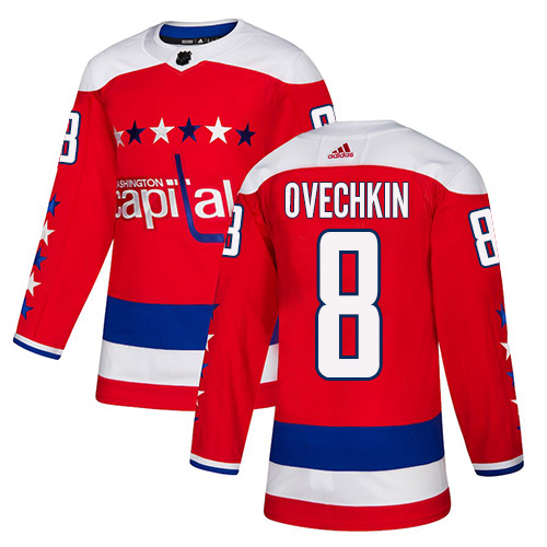 Adidas Capitals #8 Alex Ovechkin Red Alternate Authentic Stitched Youth NHL Jersey