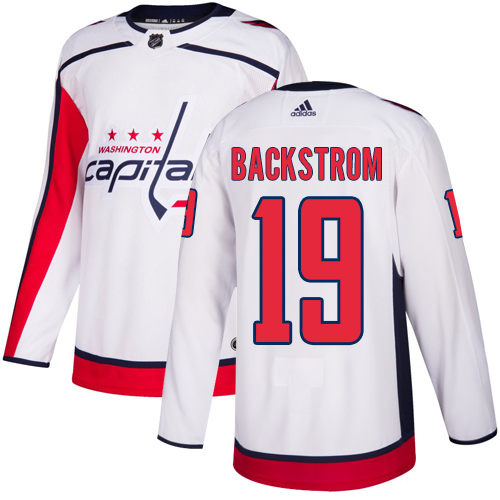 Adidas Capitals #19 Nicklas Backstrom White Road Authentic Stitched Youth NHL Jersey