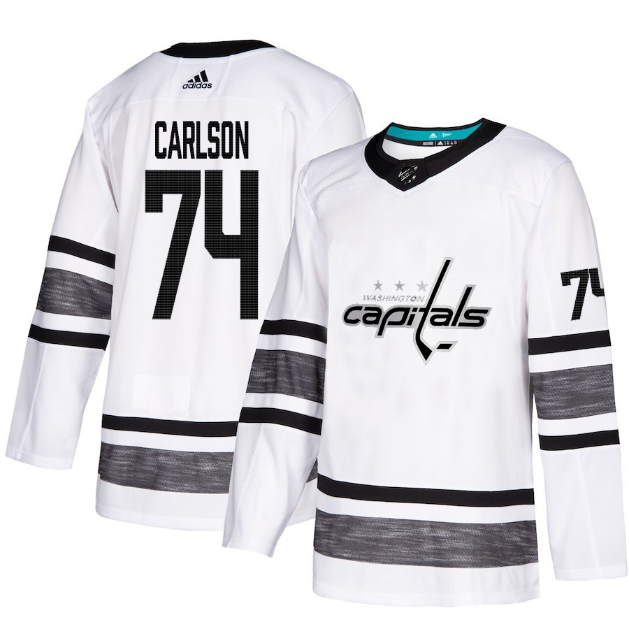 Adidas Capitals #74 John Carlson White Authentic 2019 All-Star Stitched Youth NHL Jersey