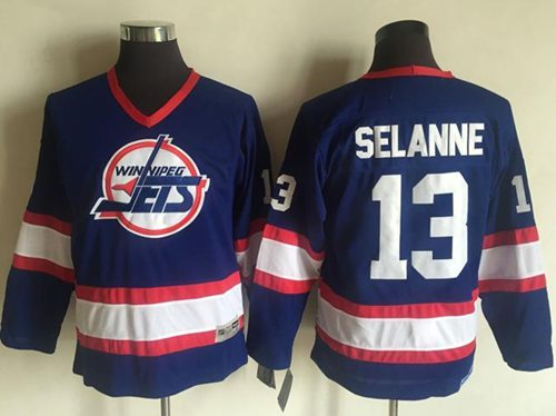 Jets #13 Teemu Selanne Light Blue CCM Throwback Stitched Youth NHL Jersey