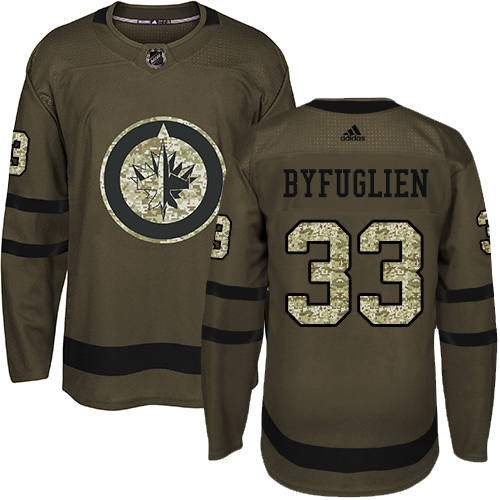 Adidas Jets #33 Dustin Byfuglien Green Salute to Service Stitched Youth NHL Jersey