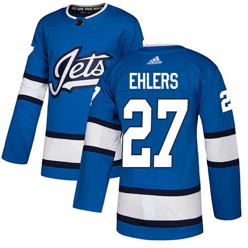 Adidas Jets #27 Nikolaj Ehlers Blue Alternate Authentic Stitched Youth NHL Jersey