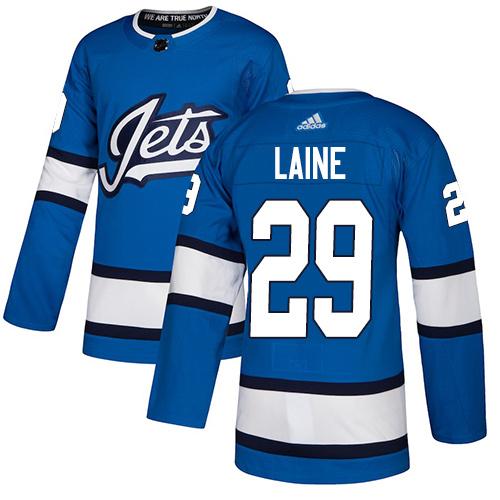 Adidas Jets #29 Patrik Laine Blue Alternate Authentic Stitched Youth NHL Jersey