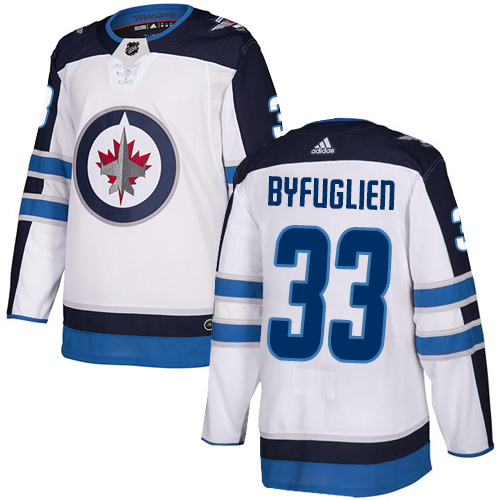 Adidas Jets #33 Dustin Byfuglien White Road Authentic Stitched Youth NHL Jersey