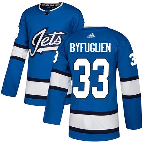 Adidas Jets #33 Dustin Byfuglien Blue Alternate Authentic Stitched Youth NHL Jersey
